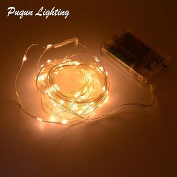 Outdoor lighting 2M 3M 5M 10M led Battery Powered LED Silver Fairy String Lights Decorative Christmas Holiday Wedding and Party