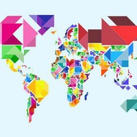 Tangram Abstract World Map Art Canvas