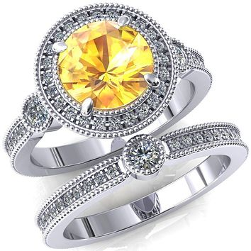 Brachium Round Lab-Created Yellow Sapphire Milgrain Halo 3/4 Eternity Accent Diamond Ring
