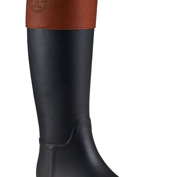 Tory Burch Diana Rain Boot Black Rubber - Jildor Shoes, Since 1949