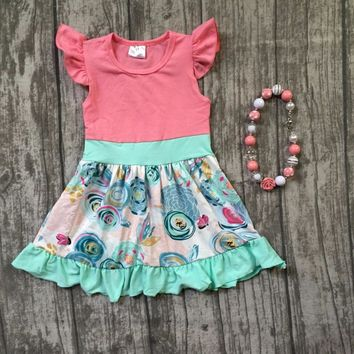 new summer cotton baby girls kids boutique clothes dress sets coral mint floral short print ruffles with matching accessories