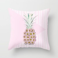 Floral Pineapple Stripes Pink Throw Pillow by Lisa Argyropoulos