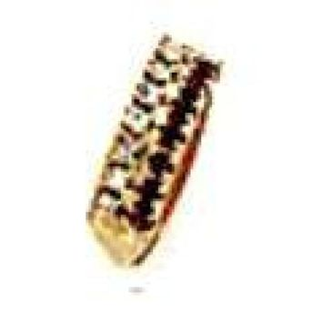CZ 2 ROADS CLEAR AND RED   18KT GOLD PLATED RING