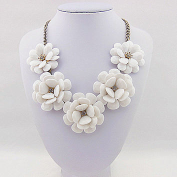 Boho Style 5-- Flower Milk White Flowers Inspired Bubble Necklace, Statement Necklace ,Bib Necklace Jewelry.