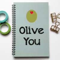 Writing journal, spiral notebook, bullet journal, cute journal, diary, sketchbook, mint and green, I love you, blank lined grid - Olive you
