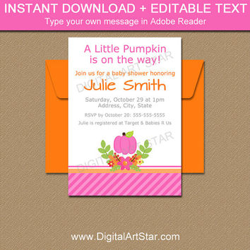 Fall Baby Shower Invitation Template, Autumn Baby Shower Invitation, Pink Pumpkin Invitation, Printable Girl Baby Shower Invites LP1