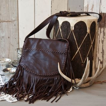Juan Antonio Leather Fringe Purse