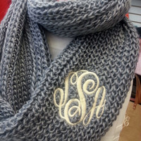Chunky Grey Infinity Scarf  Monogram Font Shown MASTER CIRCLE