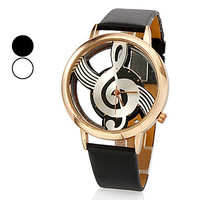 Unique creative Women's Quartz Analog Hollow Musical Note Style Dial PU Band Wrist Watch,new fashion,ladies watch