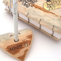 Rustic Wedding guest book Pen Holder- personalized with your initials and date - wood heart