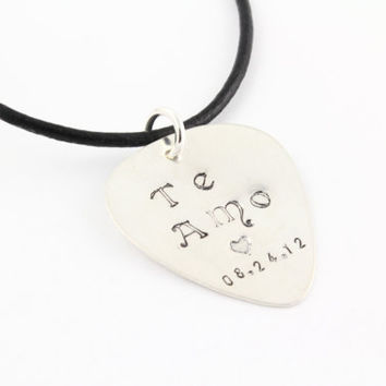 Personalized Guitar Pick Necklace - Sterling Silver Guitar Pic Necklace - Music Lover Gift