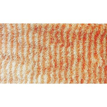 "Shaggy Plush Soft Spooky Halloween Holiday Carpet Door Mat Stripe Orange & Cream Beige Print Motif Decor - 20"" x 32"""