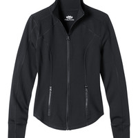 Zip Front Performance Jacket With Fabric - Black