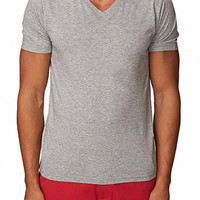 Heathered V-Neck Tee Heather Grey