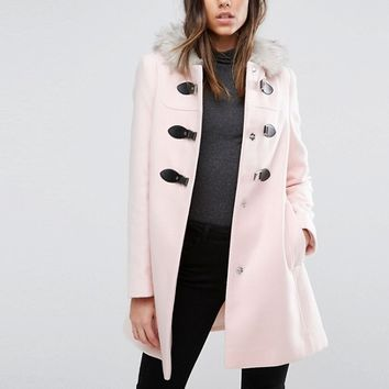 ASOS Duffle Coat with Faux Fur Hood at asos.com