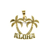 "SOLID 14K YELLOW GOLD SMOOTH DIAMOND CUT HAWAIIAN PALM TREE ""ALOHA"" PENDANT"