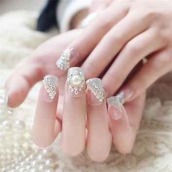 24pcs/set New Full Cover False Nails Artificial Art Design Fake Nails Free With 2g Glue White French Style Wedding