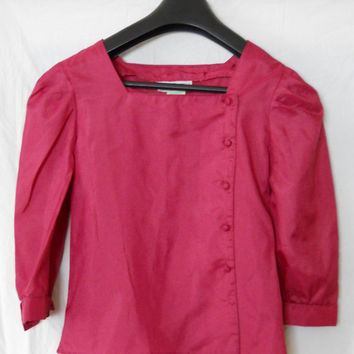 Hot Pink Blouse with Square Neck, Puff Shoulders, 2/3 Sleeves - Buttons up the side Size Small - Vintage 80s