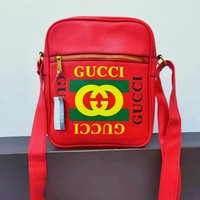 Gucci Classic Fashion Women Men Leather Single Shoulder Bag Crossbody Satchel Red