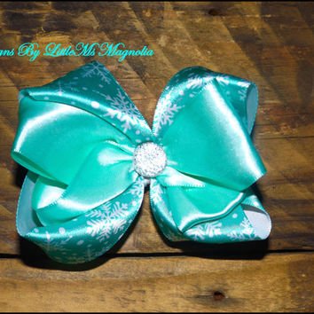 "Frozen Inspired Hair Clip or Headband ""Wanna' Build  A Snow Man""  Hair Bow for baby girls, toddler girls and little Girls"