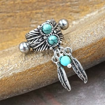 Turquoise Boho Feather Ear Cuff