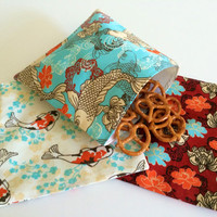 Japanese Koi Fish Set of Reusable Snack Bags Lunch Baggies and Sandwich Bags