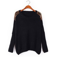 ZLYC Charming Scoop Neck Batwing Sleeve Stud Embellished Casual Sweater For Women