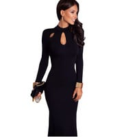 Autumn Winter Elegant Party Women Dresses   Fashon O-neck  Long Sleeve Black Maxi Dress HML0182
