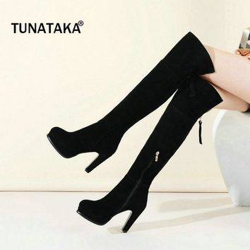 Woman Suede Platform Square High Heel Over The Knee Boots Fashion Round Toe Side Zippe