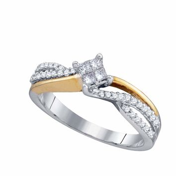 14kt Two-tone Gold Womens Princess Diamond Cluster Bridal Wedding Engagement Ring 1/4 Cttw