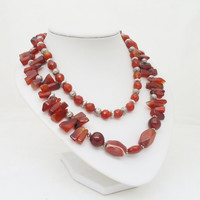 Carnelian Necklace, Carnelian Chunky Necklace, Carnelian Multistrand Necklace, UK Seller