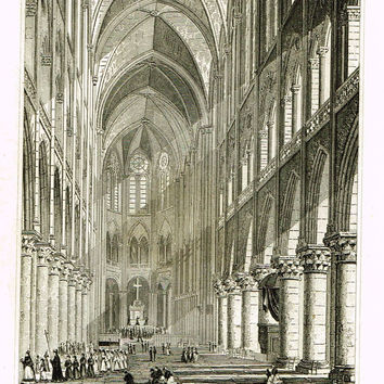 "Paris & Its Environs - ""INTERIEUR DE LA CHAPELLE VAL DE GRACE"" - Steel  Engraving - 1829"
