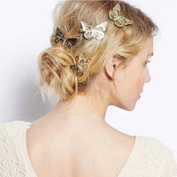 Trendy Gift Vintage Shiny Gold Hollow Butterfly Bridal Hair Pins Clip Headpiece Barrettes For Women Girls 2Pcs