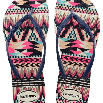 Havaianas Slim Tribal in White/Navy Blue- Size 6