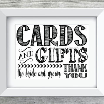 CARDS and GIFTS Wedding/Party Printable/Instant Download Black and White Bride and Groom Thank You