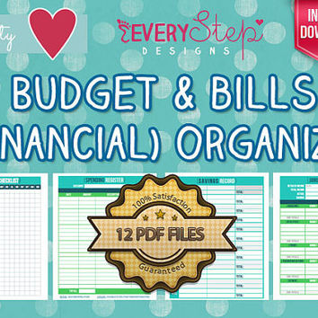 Budget & Bills (Financial) Organizer - Printable - Budget Envelopes Included - 12 PDF Files / 30+ Pages / Most Complete Financial Organizer