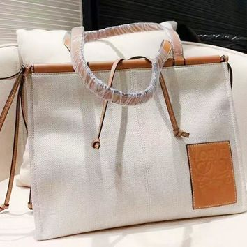 Loewe sells casual lady's shopping bag fashionable canvas color with one shoulder bag
