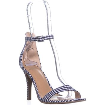 MG35 Blaire5 Ankle Strap Heels, Blue Gingham, 7 US
