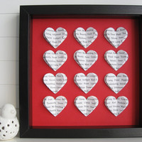 Valentines Day Personalised Heart Frame - 3D Hearts - Wedding Valentine Anniversary Gift - Song Lyric Word Wall Art