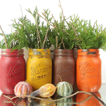Fall Centerpiece, Colorful Home Decor, Autumn Decorations, Painted Mason Jars, Fall Table Decor, Mason Jar Decorations, Distressed Decor