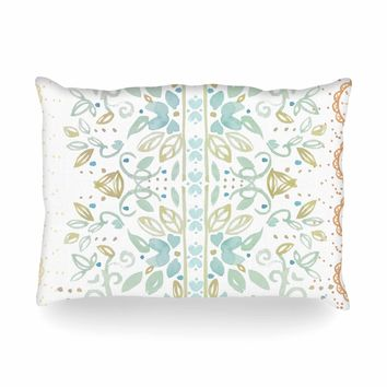 "Jennifer Rizzo ""Boho Inspired Watercolor"" Blue Gold Floral Pattern Watercolor Painting Oblong Pillow"