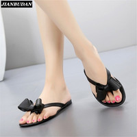 2017 summer new toe bow flat with cool slippers, women's beach shoes, women flip flops Jelly shoes