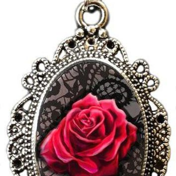 Alkemie Red Rose on Black Lace Cameo Pendant Necklace