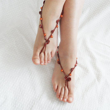 Anklet, wedding barefoot, '' Bohemian wedding anklet'' sandals, brown anklet, OOAK items, Trendy items, Beach wedding accessories