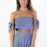 Rising Above Blue Off The Shoulder Top & Short Set
