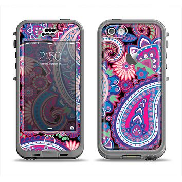 The Vibrant Purple Paisley V5 Apple iPhone 5c LifeProof Nuud Case Skin Set