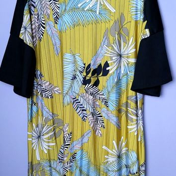 Sunny Day Tropical Print Plus Tunic - Mustard