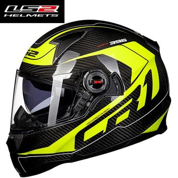 Genuine LS2 FF396 Carbon Fiber Motorcycle Helmet Full Face racing Motorbike Helmets with Air pump dual lens visor moto helmet