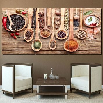 Food Spoon Grains Spices Kitchen Picture Wall Art Canvas Print Paintings for Dining Room Home Decor Custom And Drop Shipping