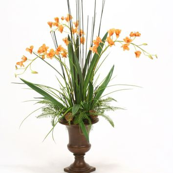 Antique Gold Orchids and Foliage In Urn